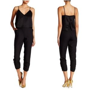 NWT PARKER Black V-Neck Silky Top Ivy Jumpsuit